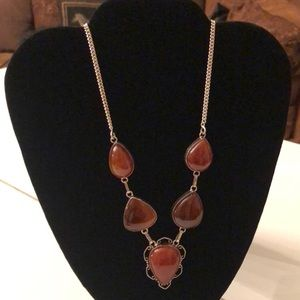 925 Silver Carnelian Stone Necklace